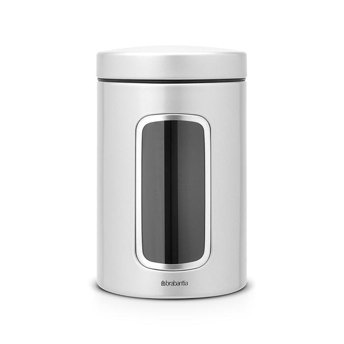 Контейнер для сыпучих продуктов с окном (1,4 л), Серый металлик, артикул 243509, производитель - Brabantia