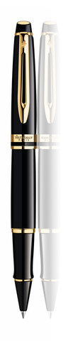 Ручка-роллер Waterman Expert 3, цвет: Black Laque GT, стержень: Fblk123