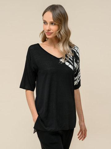 Женский джемпер черного цвета с контрастным принтом из шелка и вискозы - фото 2