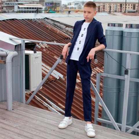 Дитячий, підлітковий літній брючний костюм в синьому кольорі для хлопчика