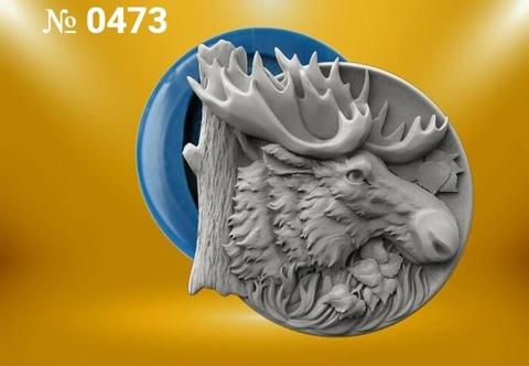 Силиконовый молд  Лось    (медальон) № 0473