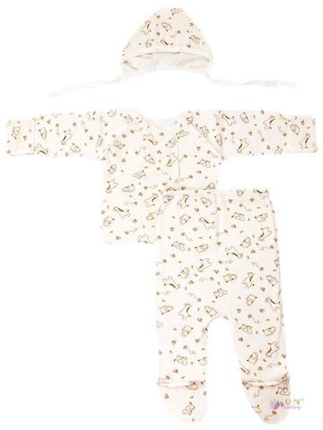 ФЭСТ, Hunny Mammy. Комплект детский стерильный с ползунками, в роддом, молочный/светло-коричневый