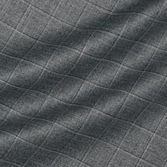 Шерстяная ткань с шёлком и льном серого цвета в клетку