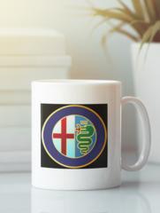 Кружка с рисунком Альфа Ромео (Alfa Romeo) белая 009