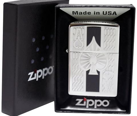 Зажигалка Zippo с покрытием High Polish Chrome, латунь/сталь, серебристая, глянцевая, 36x12x56 мм