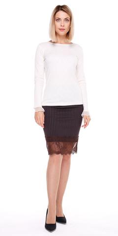 Фото модная коричневая юбка в полоску с кружевом - Юбка Б095-377 (1)