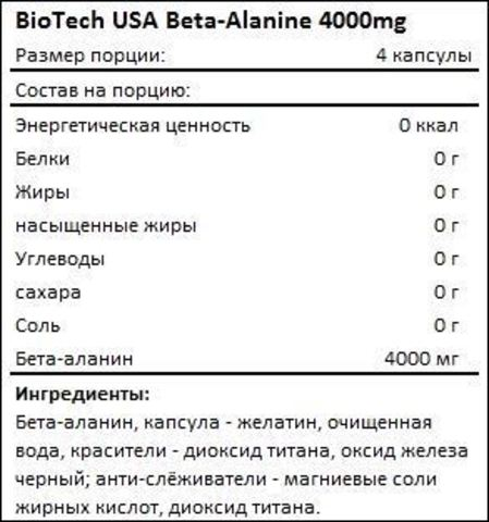 Бета-аланин BioTech USA Beta Alanine