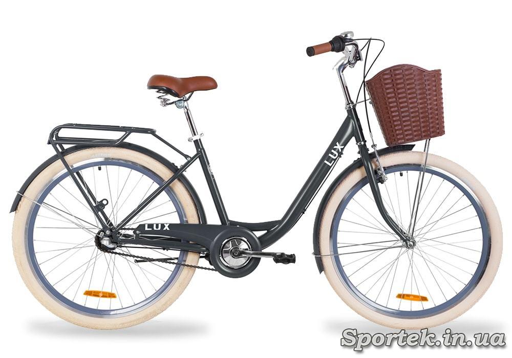 Городской универсальный велосипед Дорожник LUX (антрацитовый)
