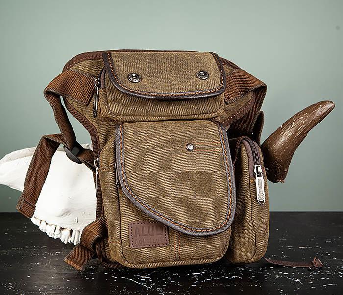 BAG507-2 Мужская сумка на бедро из ткани коричневого цвета фото 02