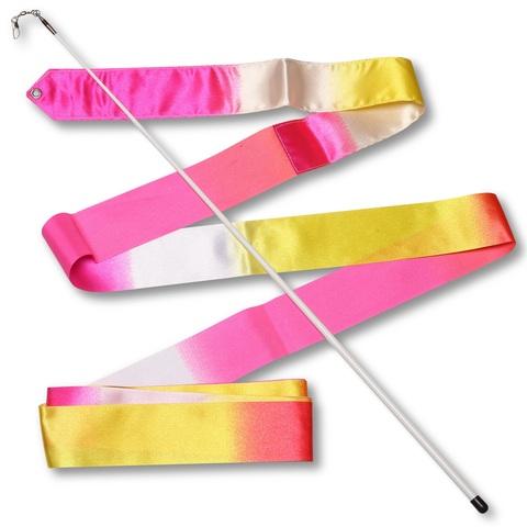 Лента гимнастическая 6м с палочкой 56см АВ236-16 Бело-Желто-Розовый (Крос) (Лента гимнастическая 6м с палочкой 56см АВ236-16 Бело-Желто-Розовый)