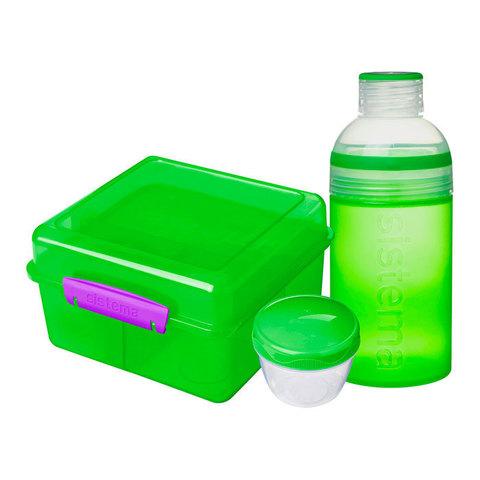 """Набор Sistema """"Lunch"""": ланч-бокс с баночкой и бутылка, цвет Зеленый"""