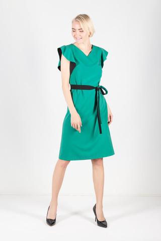 Фото нежно-изумрудное платье по колено с чёрным контрастным поясом - Платье З426а-701 (1)