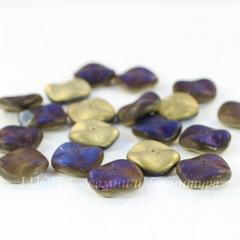 Бусина Ripple Волнистый диск, 12 мм, золотая с синим матовая