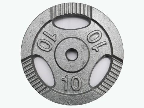 Диск для штанги с отверстиями под пальцы для хвата. Металл с покрытием матовой порошковой краской. Диаметр внутренний 26 мм. Вес 10 кг. К3-10 кг