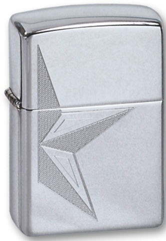 Зажигалка Zippo Half Star с покрытием High Polish Chrome, латунь/сталь, серебристая, глянцевая