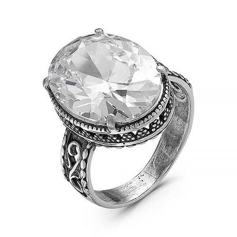 Кольцо с фианитом и серебрением