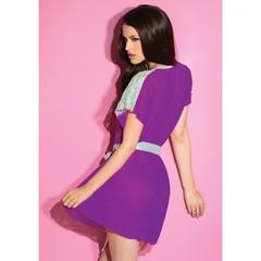 Сексуальный фиолетовый халатик с мятным кружевом