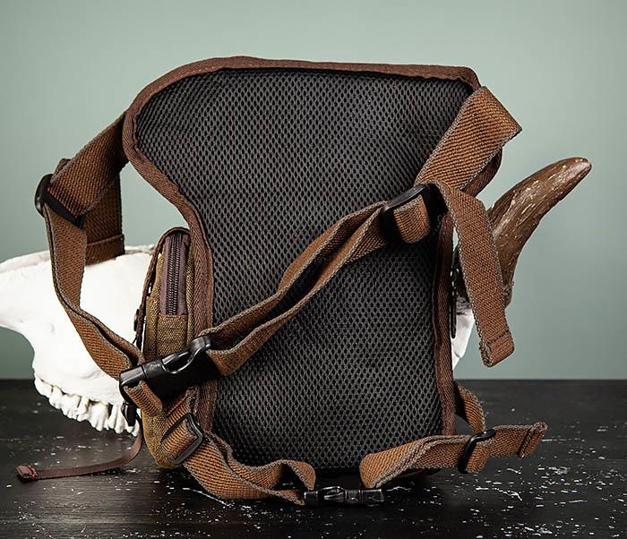 BAG507-2 Мужская сумка на бедро из ткани коричневого цвета фото 05