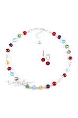Комплект Carnavale Argento (красные серьги на серебре, ожерелье)
