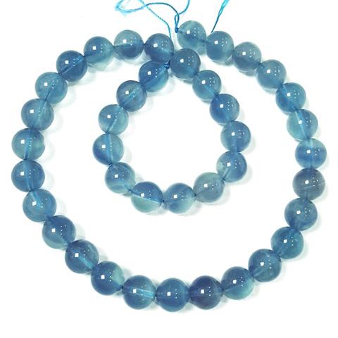 Бусины флюорит голубой А шар гладкий 10 мм 20 бусин