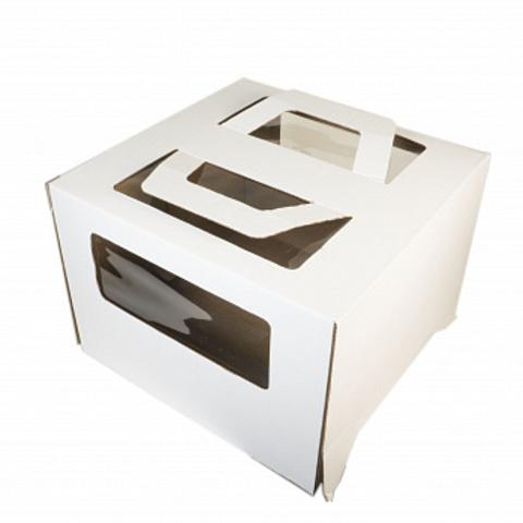 Коробка с ручкой и окошком белая гофрокартон, 24*24*20см