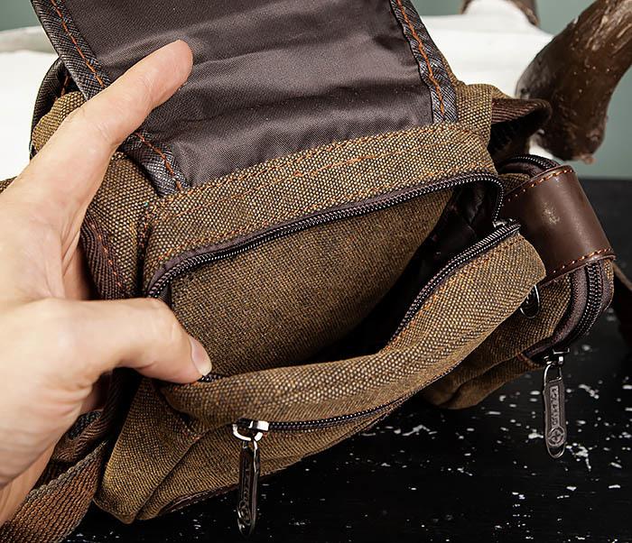 BAG507-2 Мужская сумка на бедро из ткани коричневого цвета фото 08