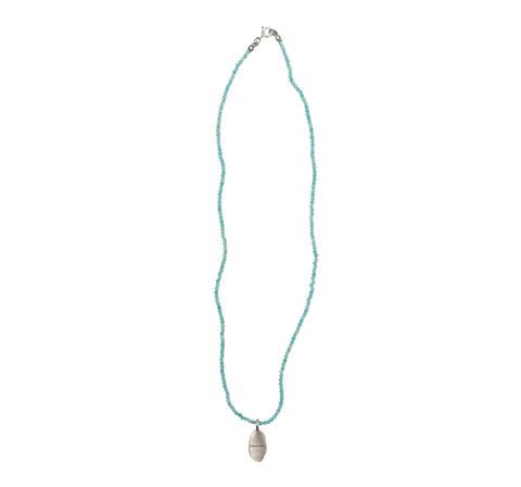 Колье из голубого амазонита с медальоном