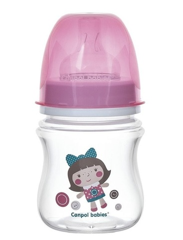 Бутылочка PP EasyStart (35/220) с широким горлышком антиколиковая, 120 мл, 3+ Toys, цвет: (розовый)