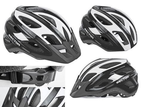 8-9001354 Шлем спорт. с сеточкой Sector 123 Blk 18отв. 54-58см черно-белый (10) AUTHOR