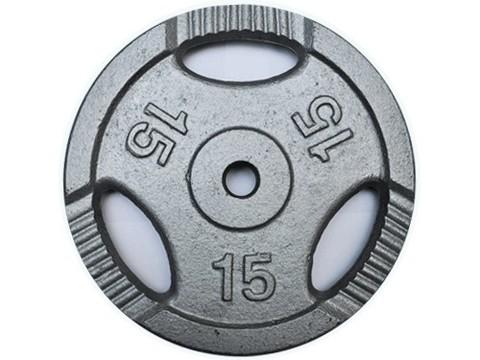 Диск для штанги с отверстиями под пальцы для хвата. Металл с покрытием матовой порошковой краской. Диаметр внутренний 26 мм. Вес 15 кг. К3-15 кг
