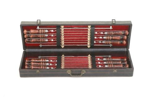 Кизлярский набор шампуров в коробке кожзам №12
