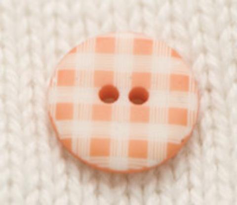 Пуговица пластмассовая в бело-оранжевую клеточку, 12 мм