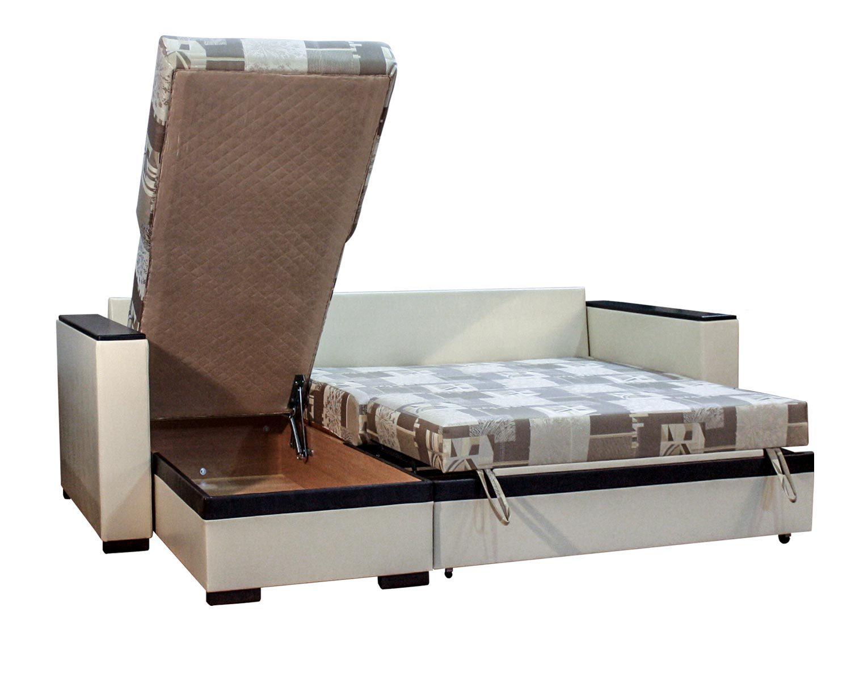 угловой диван-кровать Карелия-Люкс 2я2д без стола, ящик для белья