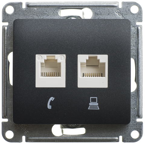Розетка двойная RJ11+RJ45, категории 5Е. Цвет Антрацит. Schneider Electric Glossa. GSL000785
