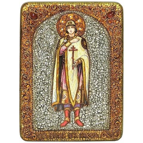 Инкрустированная икона Святой благоверный князь Глеб 29х21см на натуральном дереве, в подарочной коробке