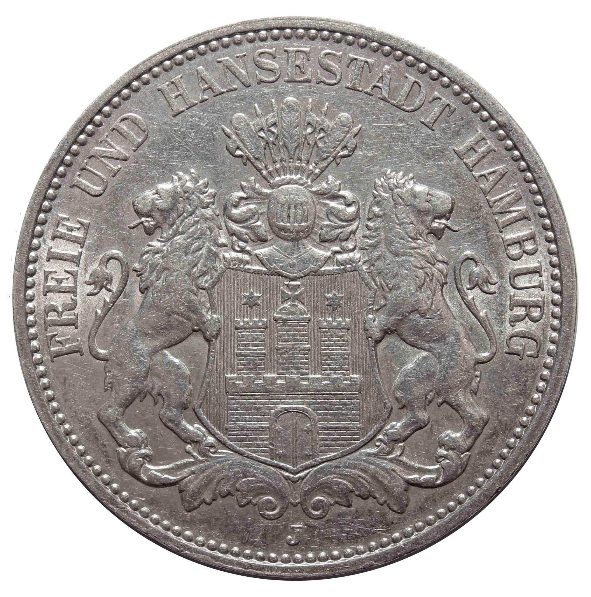 3 марки 1911 года. (J) Германия-Гамбург. Серебро. XF-AU