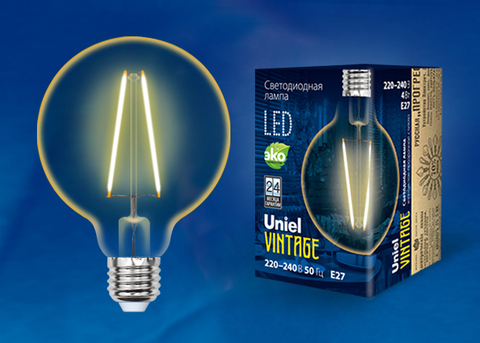 LED-G80-4W/GOLDEN/E27 GLV21GO Лампа светодиодная Vintage. Форма «шар», золотистая колба. Картон. ТМ Uniel