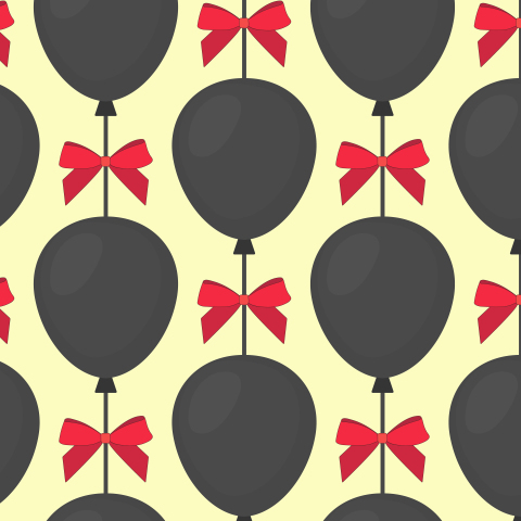 Air balloons and bow seamless pattern.