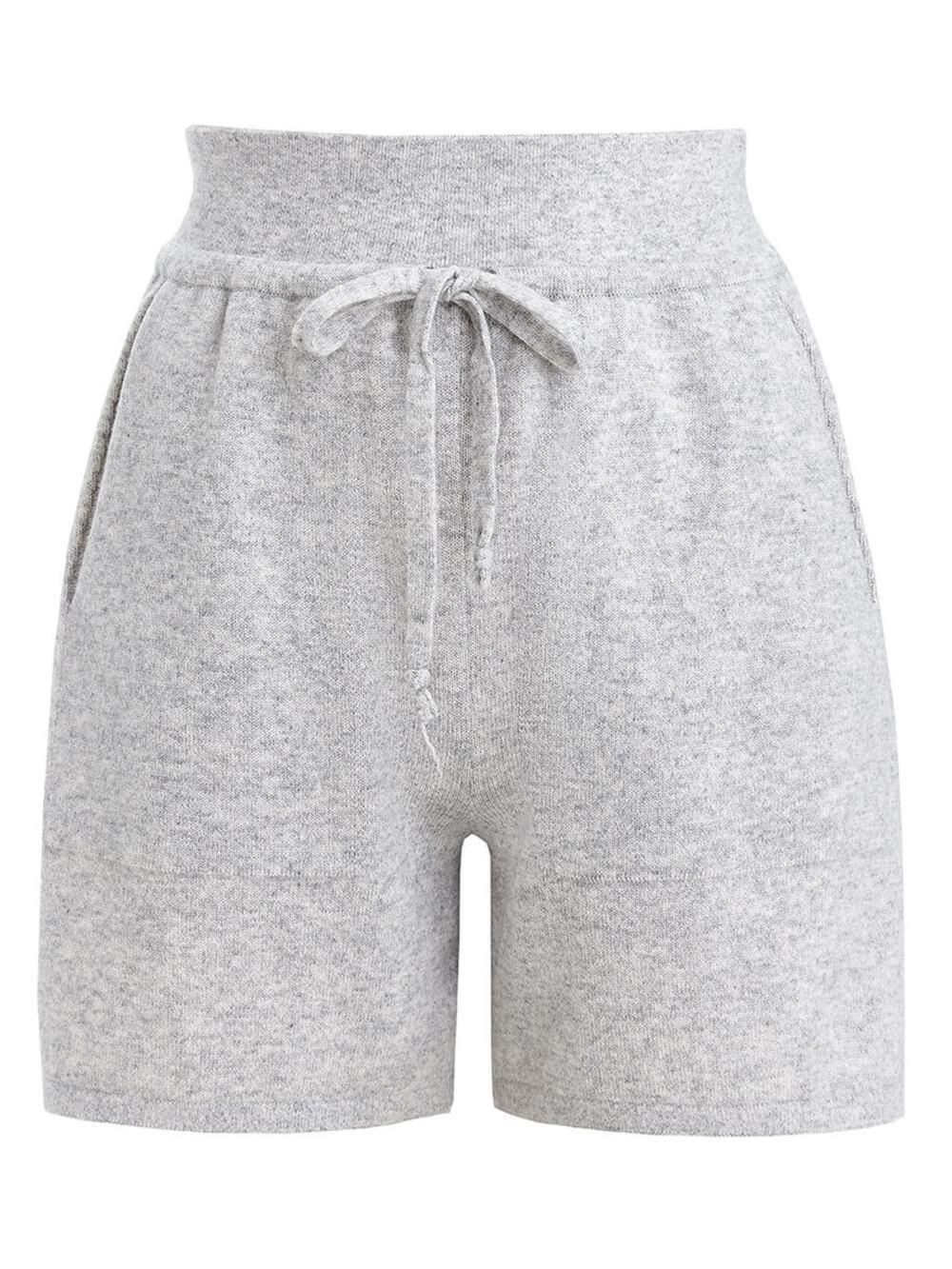 Женские шорты светло-серого цвета из шерсти и кашемира - фото 1