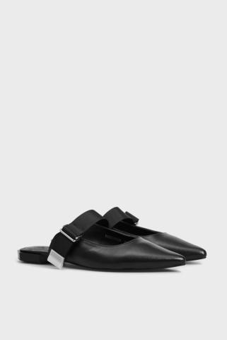 Женские черные кожаные мюли Pili PRPY