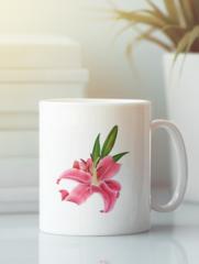 Кружка с изображением  Цветы (Лилии) белая 004