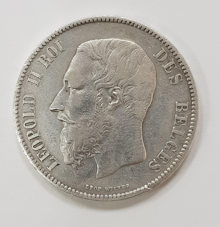 5 франков 1869 года. Бельгия. VF