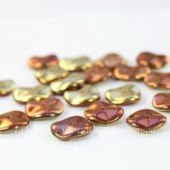 Бусина Ripple Волнистый диск, 12 мм, золотая с медно-сиреневым