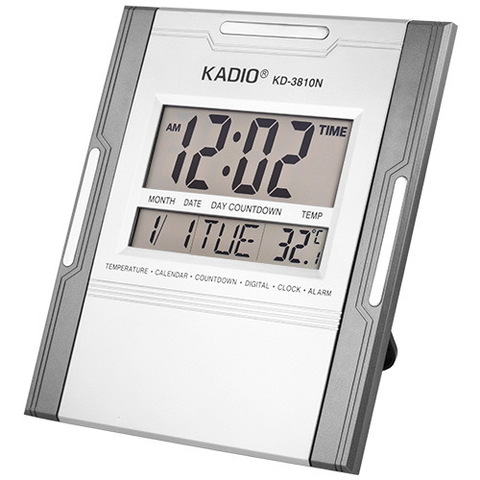 Часы настенные квадратные Kadio KD-3810N, 2xAA, дата, температура, будильник, календарь
