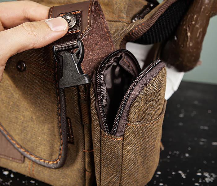 BAG507-2 Мужская сумка на бедро из ткани коричневого цвета фото 10
