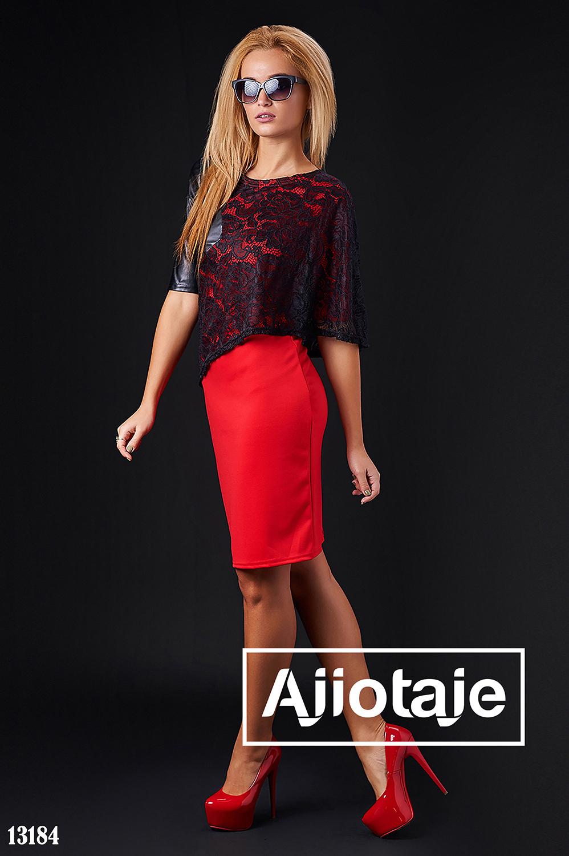 Платье красного цвета с молнией на спинке
