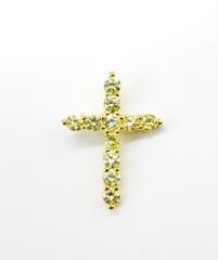11202 - Крестик из серебра с жёлтыми цирконами бриллиантовой огранки