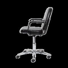 Парикмахерское кресло Бриз цвет черный матовый пневматика хром, пятилучье хром на подпятниках