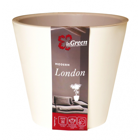 Горшок для цветов London 230 мм, 5л сливочный ING6206СЛ