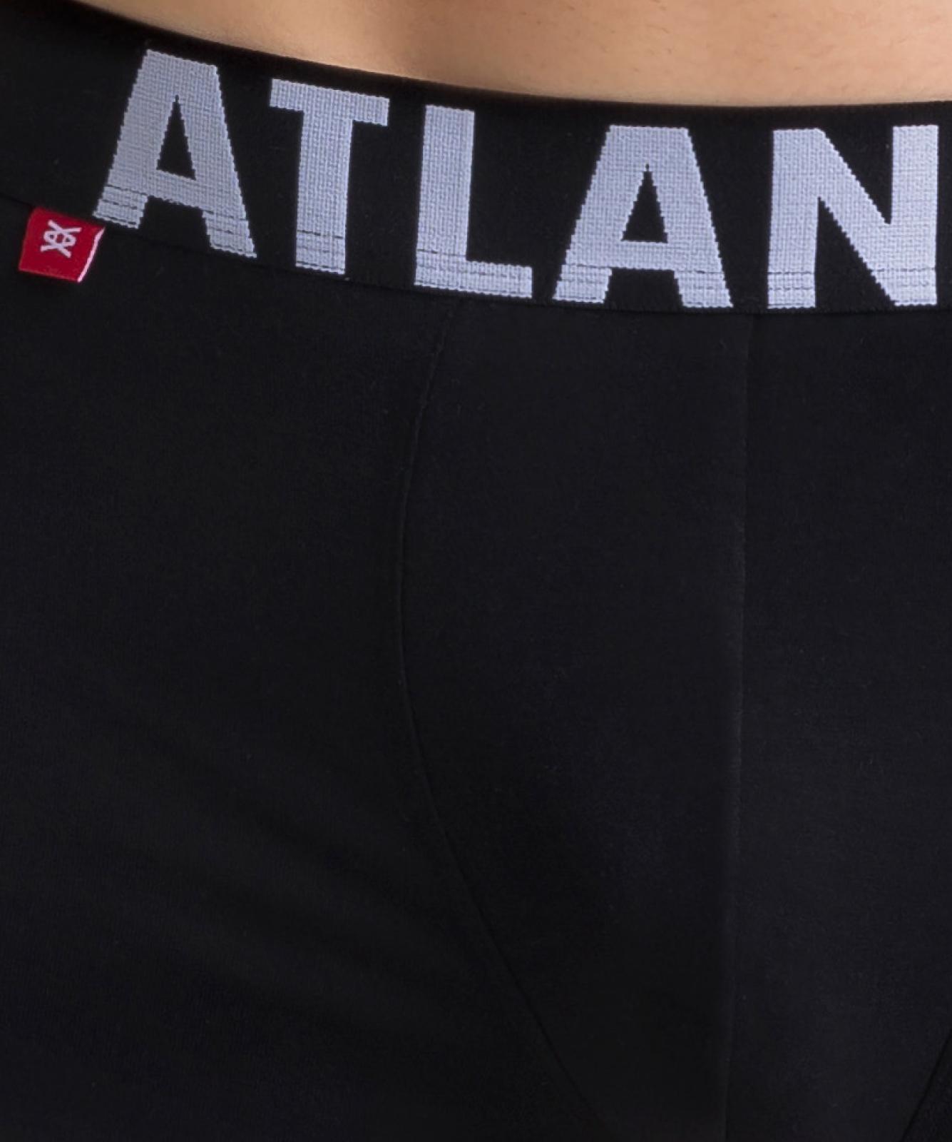 Мужские трусы шорты Atlantic, набор из 3 шт., хлопок, черные, 3SMH-003